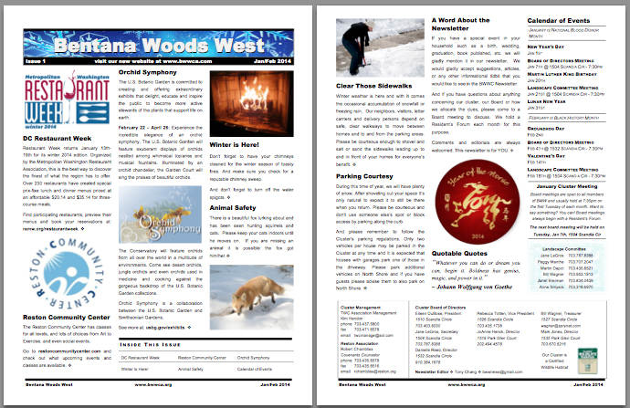 Bentana Woods West Newsletter Thumbnail 2014 Issue 1